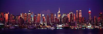 Buildings Lit Up at Dusk, Manhattan, New York City, New York State, USA--Photographic Print