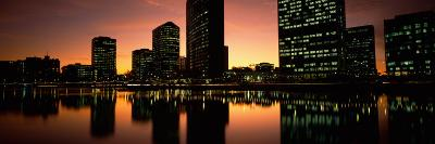 Buildings Lit Up at Dusk, Oakland, Alameda County, California, USA--Photographic Print