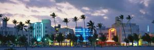 Buildings Lit Up at Dusk, Ocean Drive, Miami Beach, Florida, USA