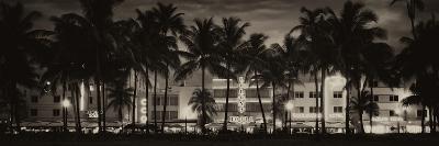 Buildings Lit Up at Dusk - Ocean Drive - Miami Beach-Philippe Hugonnard-Photographic Print