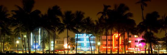 Buildings Lit Up at Dusk of Ocean Drive - Miami Beach - Florida-Philippe Hugonnard-Photographic Print