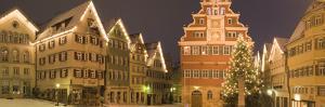 Buildings Lit Up at Night During Christmas, Esslingen Am Neckar, Stuttgart, Baden-Wurttemberg