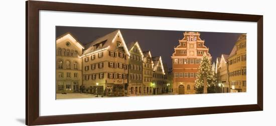 Buildings Lit Up at Night During Christmas, Esslingen Am Neckar, Stuttgart, Baden-Wurttemberg--Framed Photographic Print