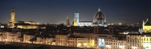 Buildings Lit Up at Night, Florence, Tuscany, Italy