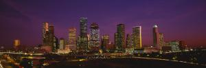 Buildings Lit Up at Night, Houston, Texas, USA