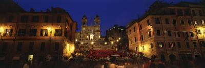 Buildings Lit Up at Night in a City, Spanish Steps, Trinita Dei Monti, Rome, Italy--Photographic Print