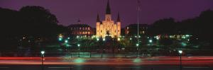 Buildings Lit Up at Night, Jackson Square, St. Louis Cathedral, French Quarter, New Orleans