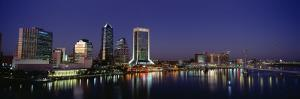 Buildings Lit Up at Night, Jacksonville, Florida, USA