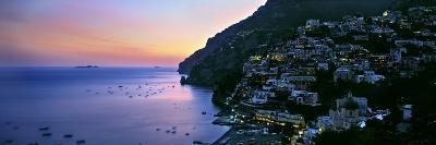Buildings Lit Up at Night, Positano, Amalfi, Amalfi Coast, Campania, Italy--Photographic Print