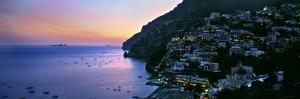Buildings Lit Up at Night, Positano, Amalfi, Amalfi Coast, Campania, Italy