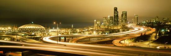Buildings Lit Up at Night, Seattle, Washington State, USA--Photographic Print
