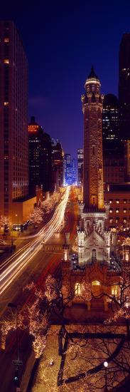 Buildings Lit Up at Night, Water Tower, Magnificent Mile, Michigan Avenue, Chicago, Cook County,...--Photographic Print