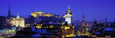 Buildings Lit Up at Night with a Castle in the Background, Edinburgh Castle, Edinburgh, Scotland--Photographic Print