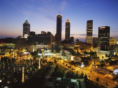 Buildings Lit Up at Sunset, Centennial Olympic Park, Atlanta, Georgia, USA--Photographic Print