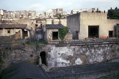 Buildings of Herculaneum with Houses of the Modern Town of Ercolano Above, Italy-CM Dixon-Photographic Print