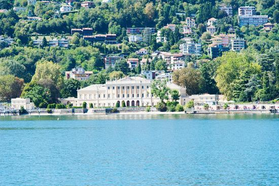 Buildings on a Hill, Villa Olmo, Lake Como, Lombardy, Italy--Photographic Print