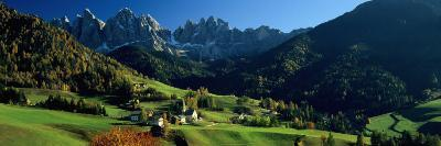 Buildings on a Landscape, Dolomites, Funes Valley, le Odle, Santa Maddalena, Tyrol, Italy--Photographic Print