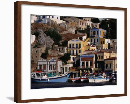 Buildings Overlooking the Harbour, Symi Island, Greece-Izzet Keribar-Framed Photographic Print