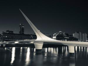 Buildings with a Footbridge at the Port, Puente De La Mujer, Puerto Madero, Buenos Aires, Argentina