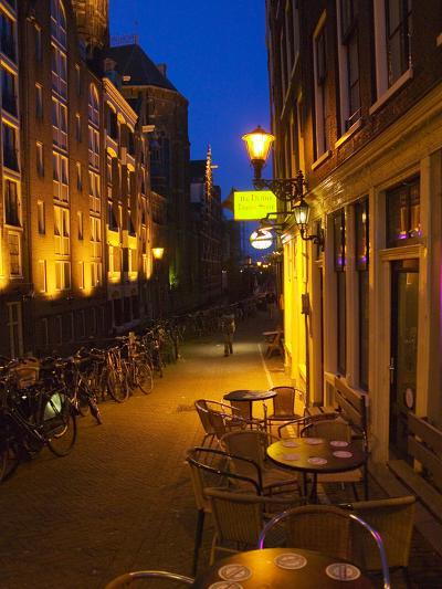 Buildings with Historic Facade and Narrow Lane at Night, Amsterdam, Netherlands-Keren Su-Photographic Print