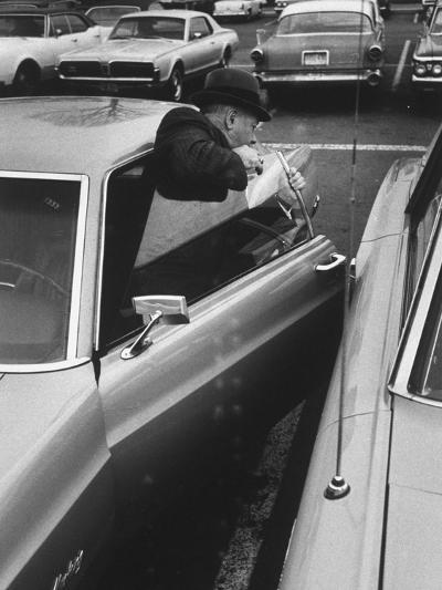 Buisness Man Pat Sappo Parking His Car for a One-Day Commute - New York to Washington DC and Back--Photographic Print