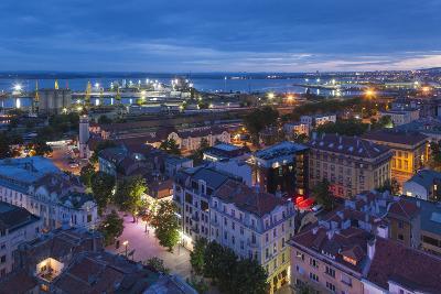 Bulgaria, Black Sea Coast, Burgas, Elevated City View. Dusk-Walter Bibikow-Photographic Print