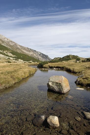 Bulgaria, Pirin Mountains, Pirin National Park, Stream with Large Stone--Giclee Print