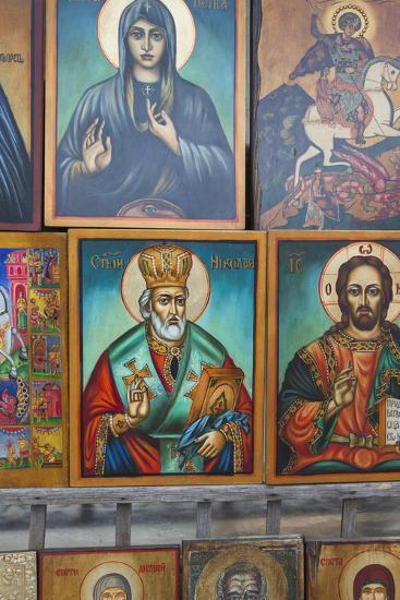Bulgaria, Sofia, Souvenir Icons for Sale-Walter Bibikow-Photographic Print