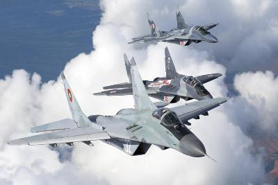 Bulgarian and Polish Air Force Mig-29S Aircraft Flying over Bulgaria-Stocktrek Images-Photographic Print