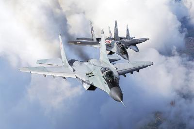 Bulgarian and Polish Air Force Mig-29S Planes Flying over Bulgaria-Stocktrek Images-Photographic Print