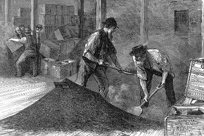Bulking Tea in the Warehouses of the East and West India Dock Company, London, 1874--Giclee Print