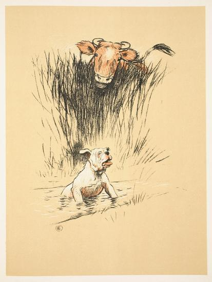 Bull and Dog in Field (Colour Litho)-Cecil Aldin-Giclee Print
