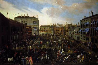 Bull Hunting in Campo San Polo in Venice-Joseph Heinz the Younger-Giclee Print