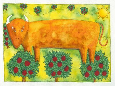 Bull in Field, 1992-Julie Nicholls-Giclee Print