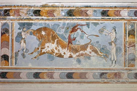 Bull-leaping' fresco from Knossos. Artist: Unknown-Unknown-Giclee Print