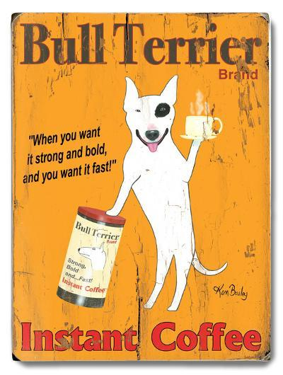 Bull Terrier Instant Coffee--Wood Sign