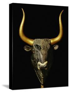 Bull with Horns of Gilded Wood, Black Steatite Rhyton (1700-1400 BCE), Minoan