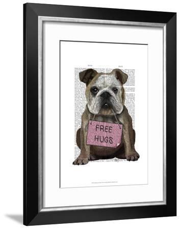 Bulldog Free Hugs-Fab Funky-Framed Art Print