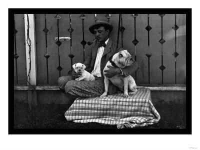 Bulldog, Master, and Pup--Art Print