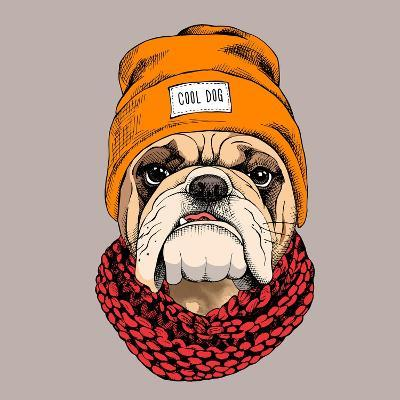 Bulldog Portrait in a Hipster Hat and with Knitted Scarf. Vector Illustration.- Afishka-Art Print