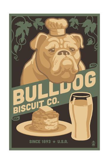 Bulldog - Retro Bisquit Ad-Lantern Press-Art Print