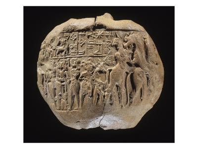 Bulle portant l'empreinte du sceau du prince Lugalanda: combat de héros et d'animaux--Giclee Print