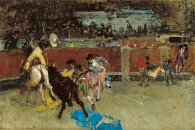 Bullfight. Wounded Picador-Mari? Fortuny-Giclee Print