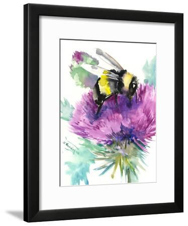 Bumblebee And Thistle Flower 2-Suren Nersisyan-Framed Art Print