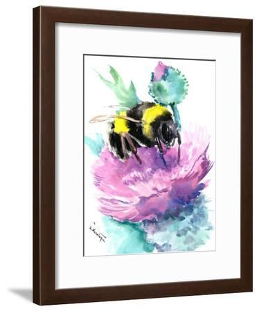 Bumblebee And Thistle Flower-Suren Nersisyan-Framed Art Print