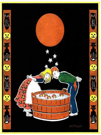 """""""Bumping Bobbing for Apples,""""October 1, 1931-W. P. Snyder-Giclee Print"""