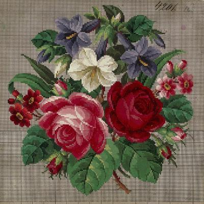 Bunch of Roses, Primulas and Gentians Embroidery Design--Giclee Print
