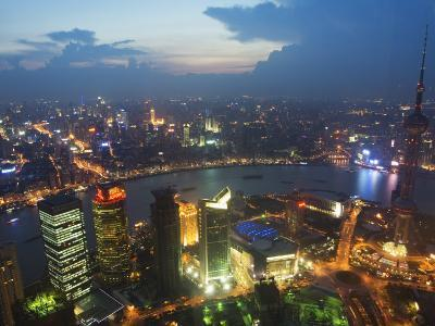 Bund and the Oriental Pearl Tower Illuminated in Pudong New Area, Pudong, Shanghai, China-Kober Christian-Photographic Print
