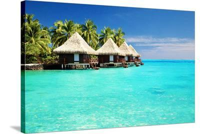 Bungalows Green Lagoon--Stretched Canvas Print