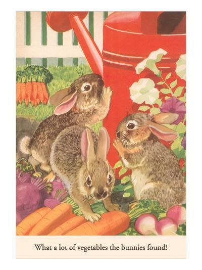 Bunnies and Vegetables--Art Print